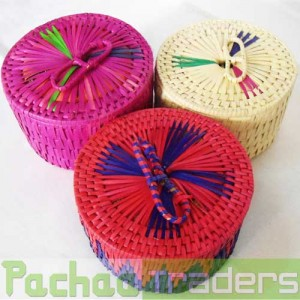 Panai Palm Leaf Peetal Round Return Gift Box With HANDLE